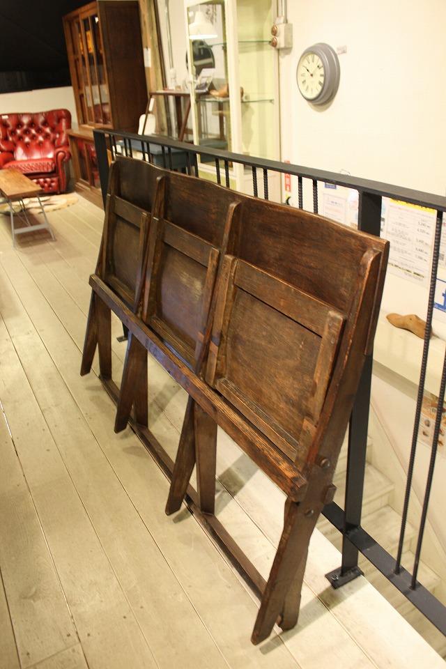 アンティーク シネマベンチ 木製 3連 店舗向け 什器 ディスプレイ