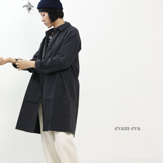 evameva (エヴァムエヴァ) Cotton hemp tremch coat