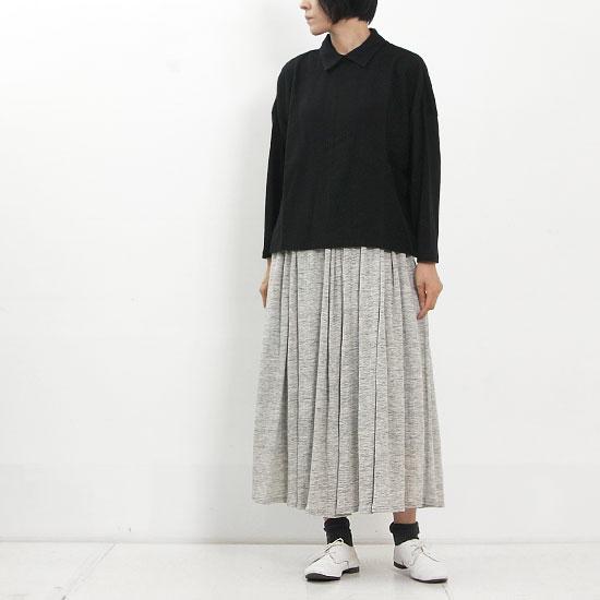 MidiUmi (ミディウミ) ウーブンコンビシャツカラープルオーバー