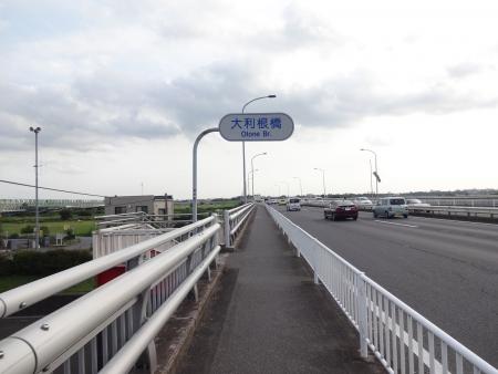 116怖い大利根橋を渡ります、歩道で