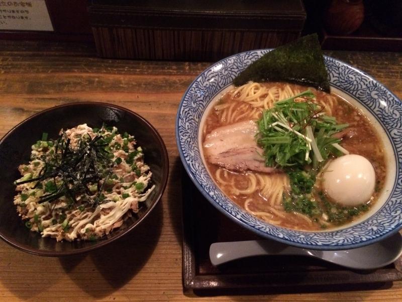 矢吹 魚介豚骨醤油+味玉 ・ ツナマヨ丼