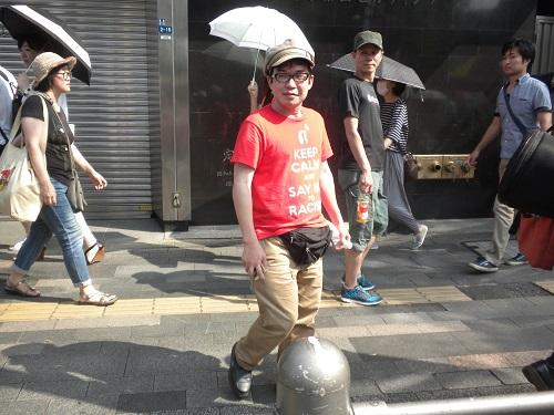 デモ隊をストーキングしながらデモを妨害したり勝手に撮影したりするしばき隊の木野トシキ20150802安保法案を支持する国民大行進 in 銀座