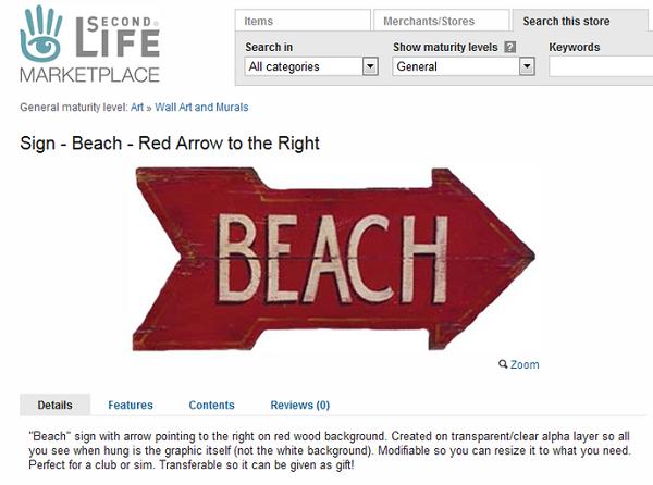 セカンドライフSign - Beach - Red Arrow to the Right