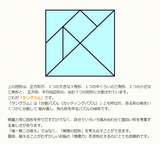 教材自立共和国 上の図形は、正方形が、2つの大きな3角形、1つの中くらいの三角形、2つの小さな三角形と、 正方形、平行四辺形の、合計7つの図形に分割されています。
