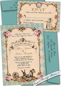 結婚式招待状不思議の国のアリスヴィンテージ