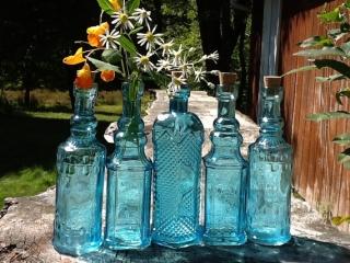 ヴィンテージ水色瓶メイソンジャー結婚式