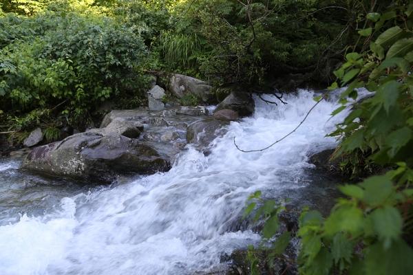 登山口の渡渉は増水で水濡れ必至だった