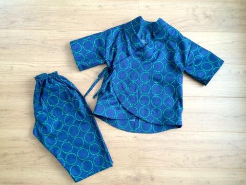 カーブ裾の甚平 じんべい 子供 手作り ハンドメイド