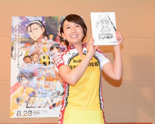 テレ東狩野アナ、「劇場版 弱虫メダル」で声優に挑戦 自転車競技コスチュームも披露
