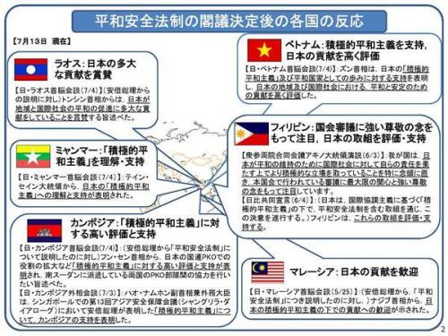 安保法案 集団的自衛権 アジア 反応