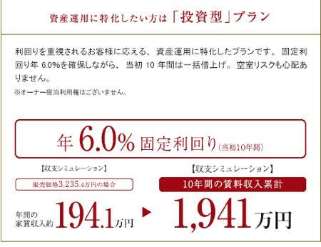 アラマンダジャグジーテラス 6%の確定利回りです