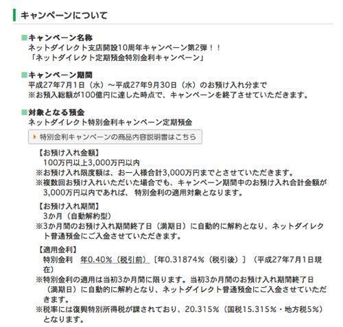 京都銀行 ネットダイレクト支店開設10周年記念 詳細<