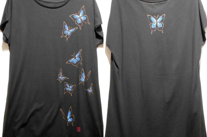 手描きTシャツ 青い蝶ユリシス