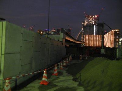 築地大橋・市場側工事現場