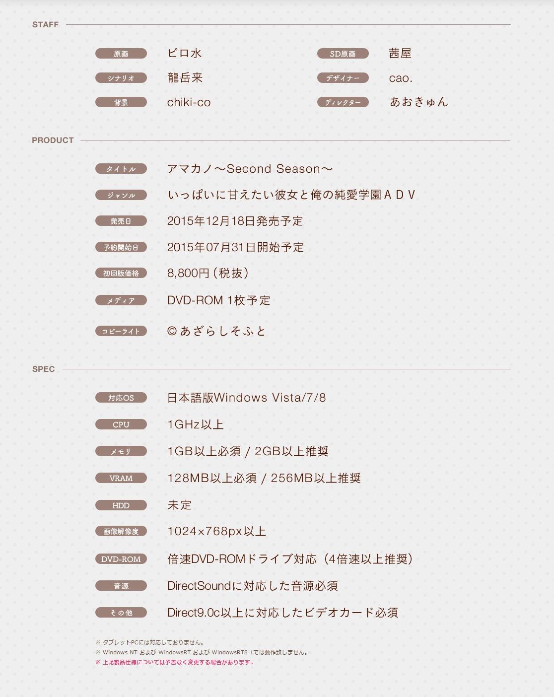アマカノ Second Season 製品紹介(PRODUCT)