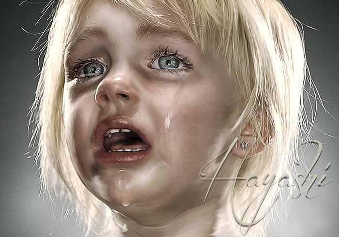涙する少女完成