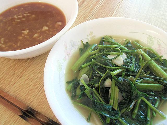 玄米粥と青菜煮