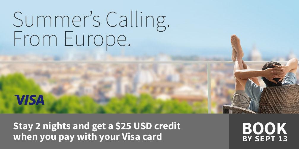 マリオットホテル ヨーロッパ2泊をVISAカードで支払うと25ユーロ付帯クレジット