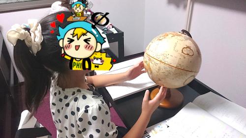 地球儀で勉強