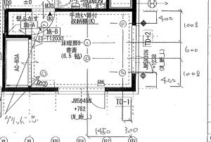 書斎の照明の配置位置施工連絡表