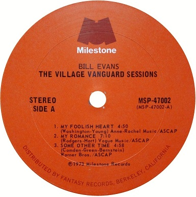 Bill Evans Village Vanguard Sessions Milestone Fantasy Label