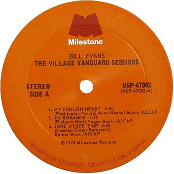 Bill Evans Village Vanguard Sessions Milestone Label