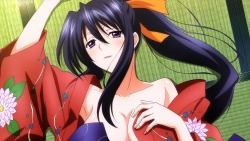 z 325609 breast_hold cleavage highschool_dxd highschool_dxd_born himejima_akeno kimono no_bra nopan open_shirt teshima_noriko