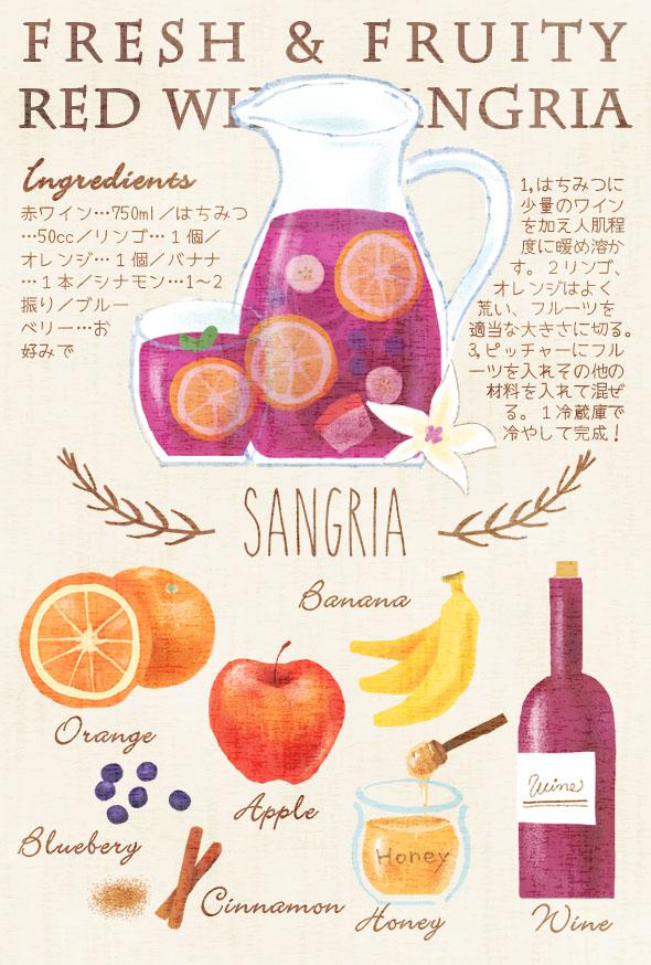 サングリアのイラストレシピ