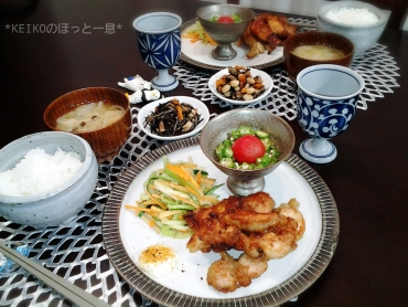 竜田揚げと中華風サラダ3