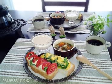 玄米甘酒プリン&夏野菜たっぷりモーニング