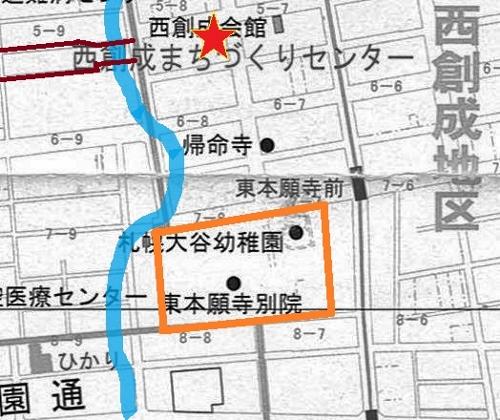 東本願寺、祖霊神社周辺 旧河道 地図