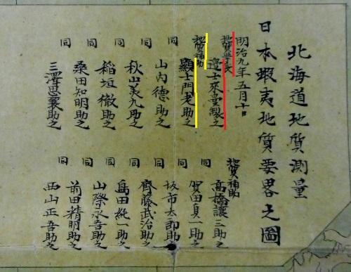日本蝦夷地質要略之圖 部分 人名