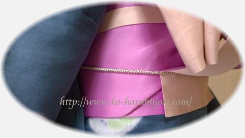 20150805紐と輪ゴム利用の浴衣用創作帯結び5