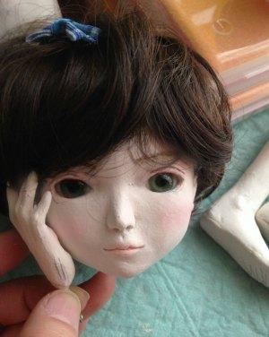 20150615 球体関節人形 顔とウィッグ 加工