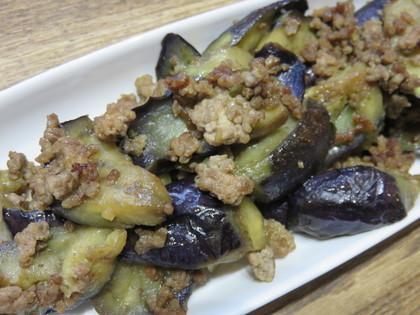 ひき肉と茄子の生姜麺つゆ炒め