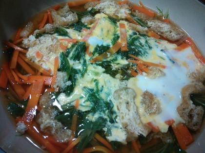 水菜と人参の卵とじ