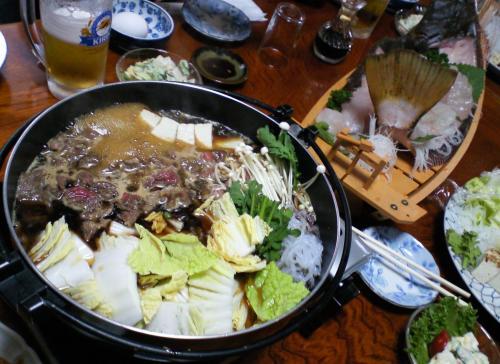 すき焼き&ヒラメ舟盛り(27.6.23)