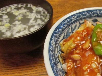 タチウオの甘酢あんかけ丼潮汁付1