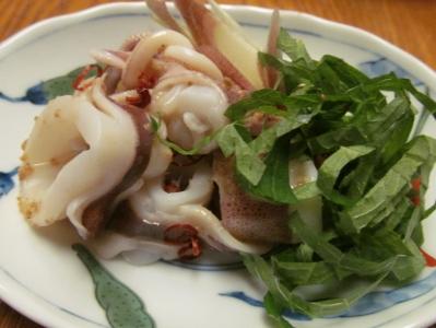 茹でマルイカの胡麻ポン酢掛け小皿1