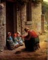 子供に食事を与える農婦