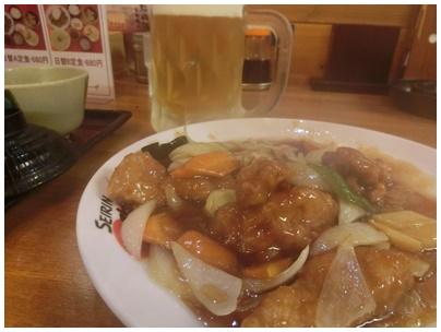 酢豚とビール