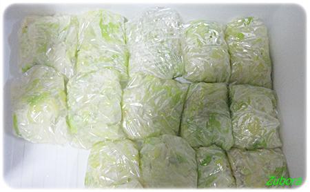 キャベツを茹でて冷凍保存