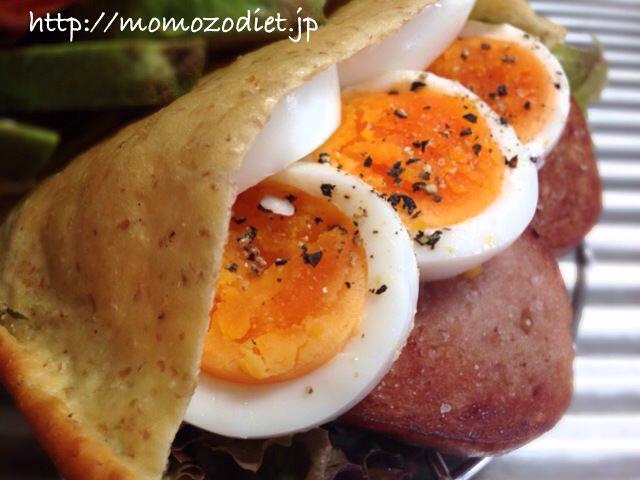 ゆで卵、スパム、サニーレタス、マヨネーズ