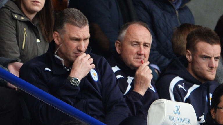 Nigel Pearson, manager of Leicester City, alongside Steve Walsh