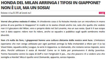 Honda del Milan arringa i tifosi in Giappone Non è lui ma un sosia!