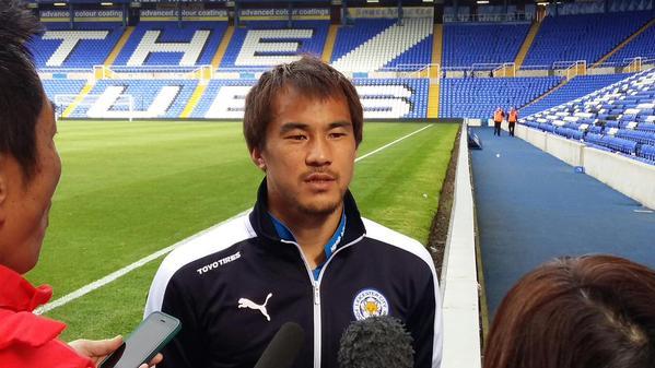 Shinji #Okazaki talks to the media after scoring the winner in Leicesters 3-2 win over Birmingham City