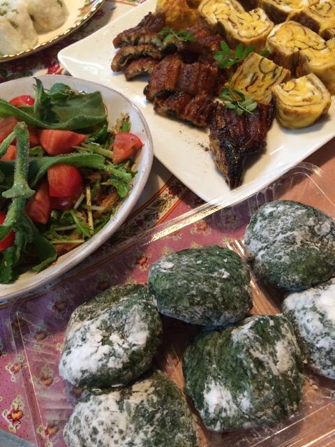 草餅と野菜お惣菜