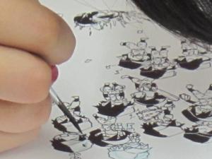 ペンで描いてます