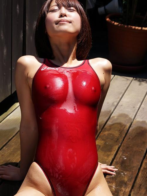 紗藤まゆ Fカップのエロ乳首がチクポチしてる濡れ透け競泳水着がぐうエロ! #エロ画像 84枚
