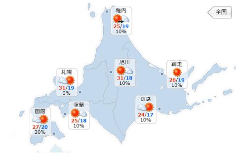 天気20150803 北海道の